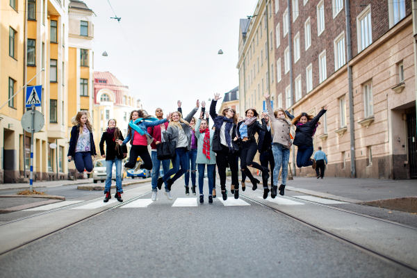Happy students on the street